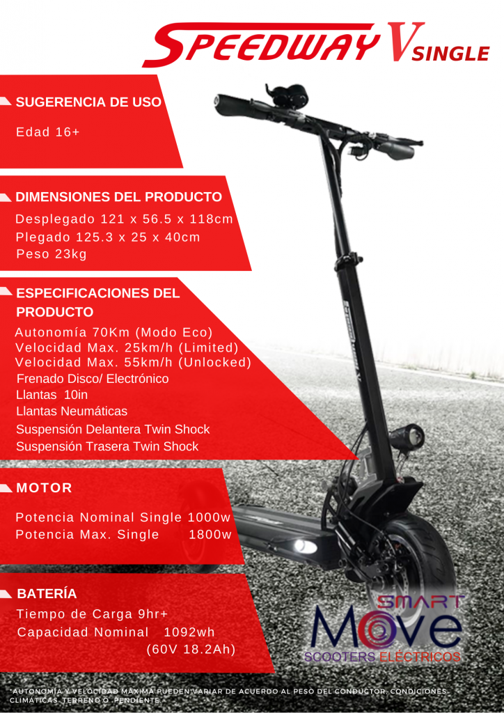 Ficha tecnica - scooter electrico peru - speedway v